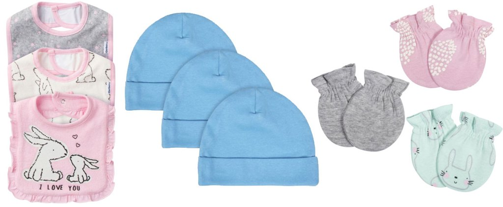 sets of baby bibs, hats, and mittens