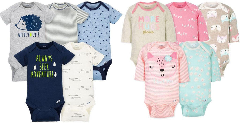 two 5-pack sets of baby bodysuits
