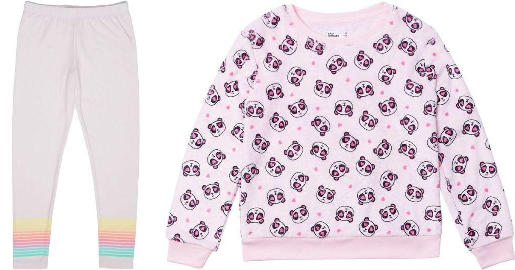 girls leggings and sweatshirt