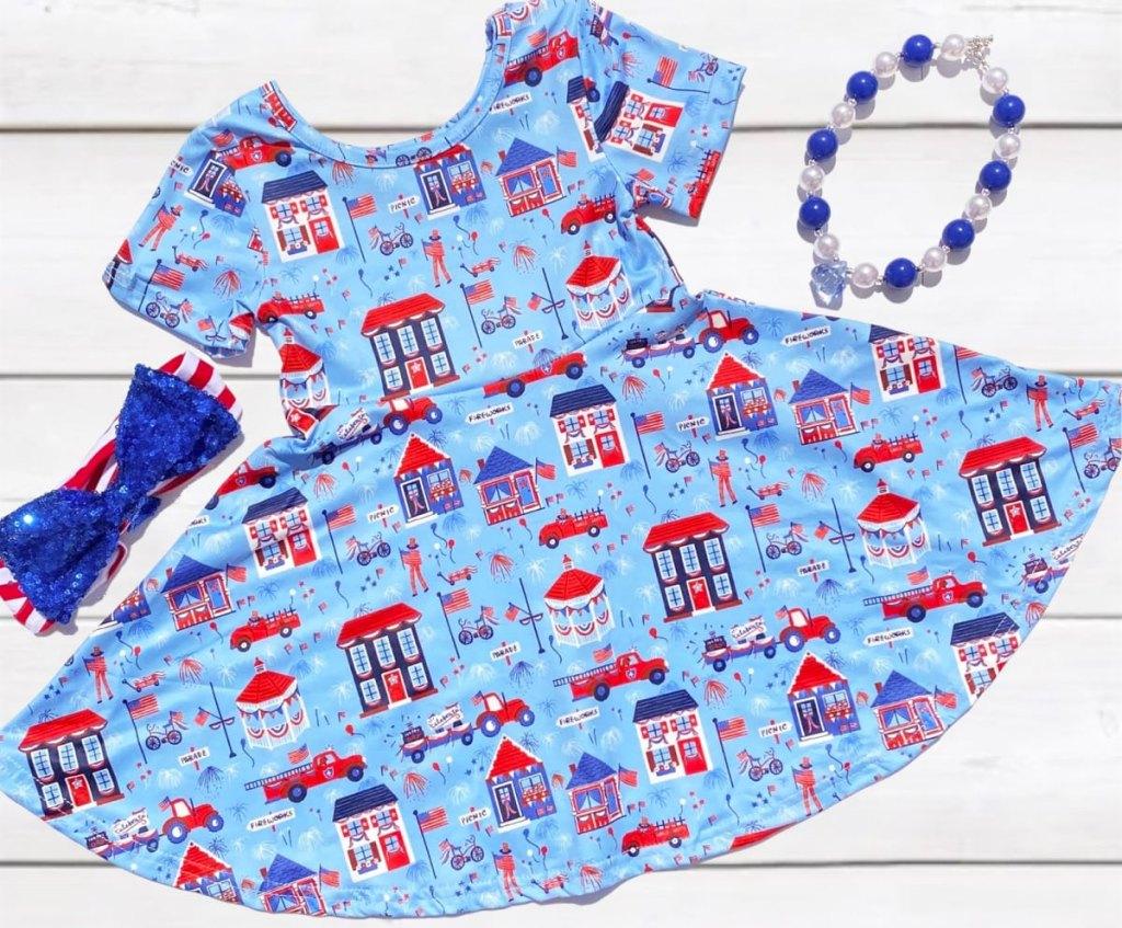 blue girls patriotic print dress