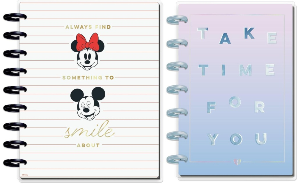 Goals and Positivity Disney Mickey & Minnie Mouse Classic Guided Journal and 12-Months Undated Take Time Mini Fitness Happy Planner