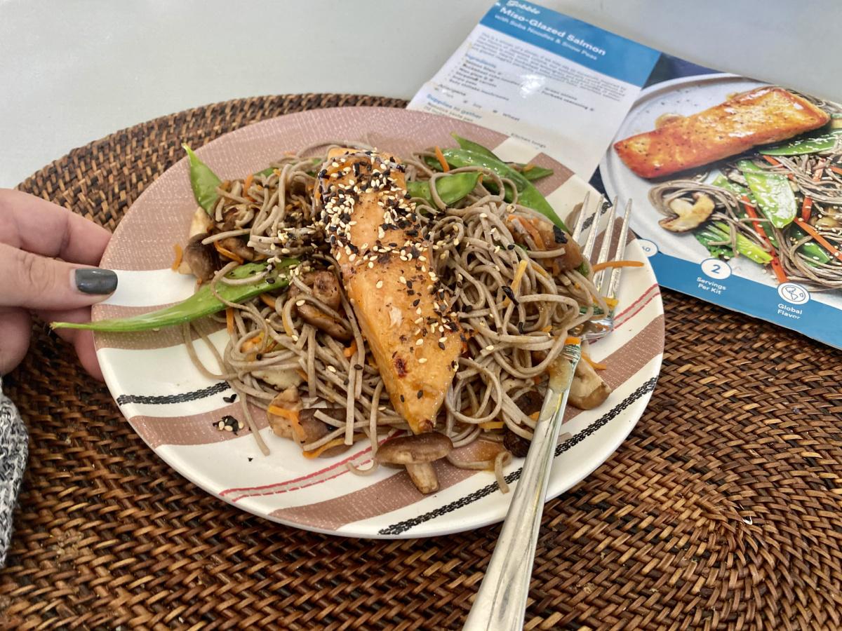 fish dinner on noodles