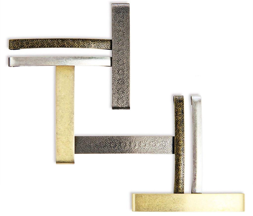 set of metallic hair clips