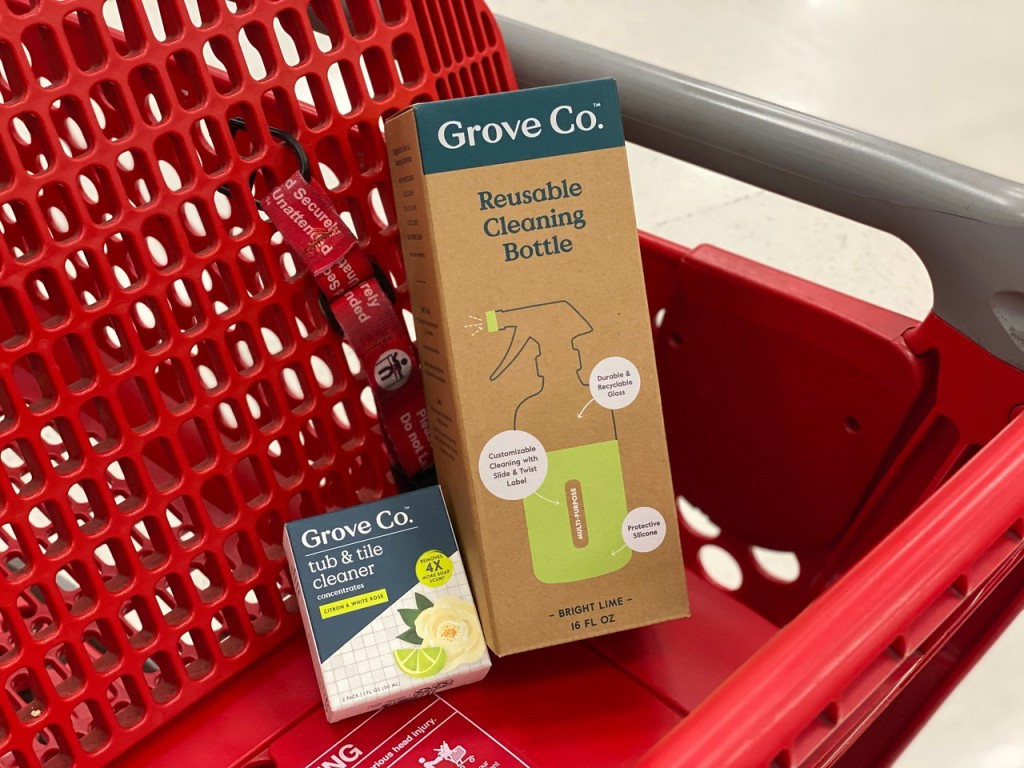 Grove Tub & Tile Cleaner Concentrate and glass bottle in Target cart