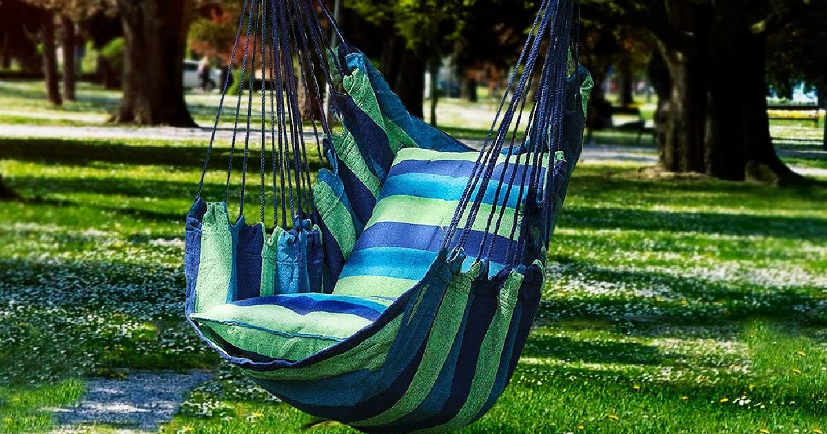 blue and green striped hanging hammock chair in park