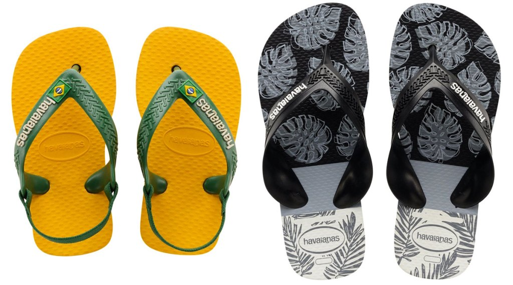 yellow and green toddler flip flops and boys tropical print flip flops