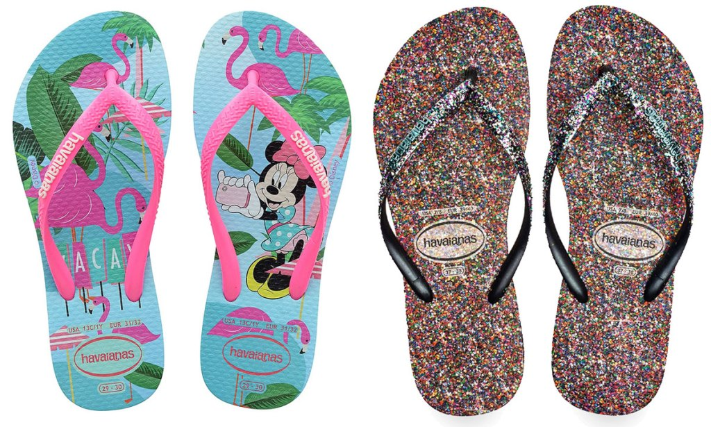 minnie mouse and glitter flip flops