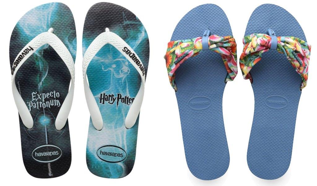 harry potter flip flops and blue sandals with floral straps
