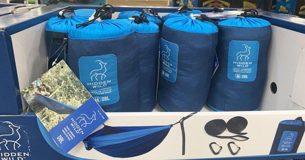 blue travel hammocks on display at costco