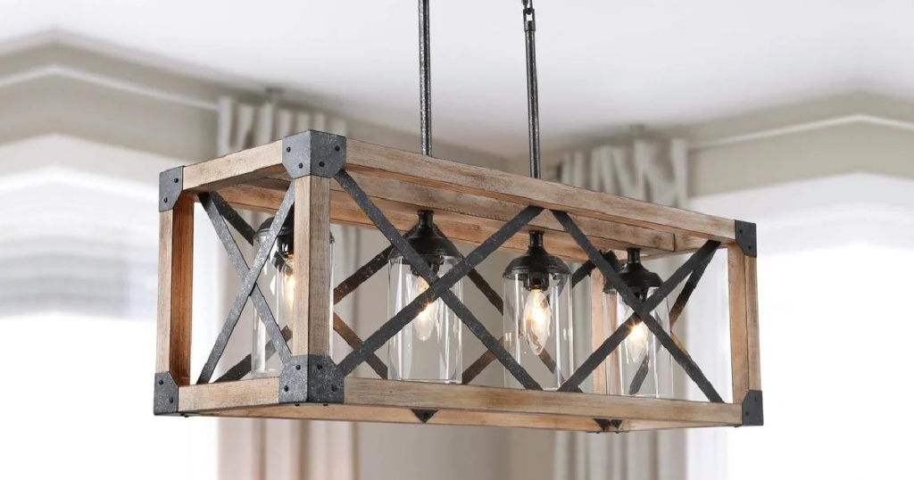 Large crate-style chandelier