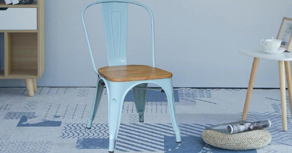 light blue farmhouse dining chair