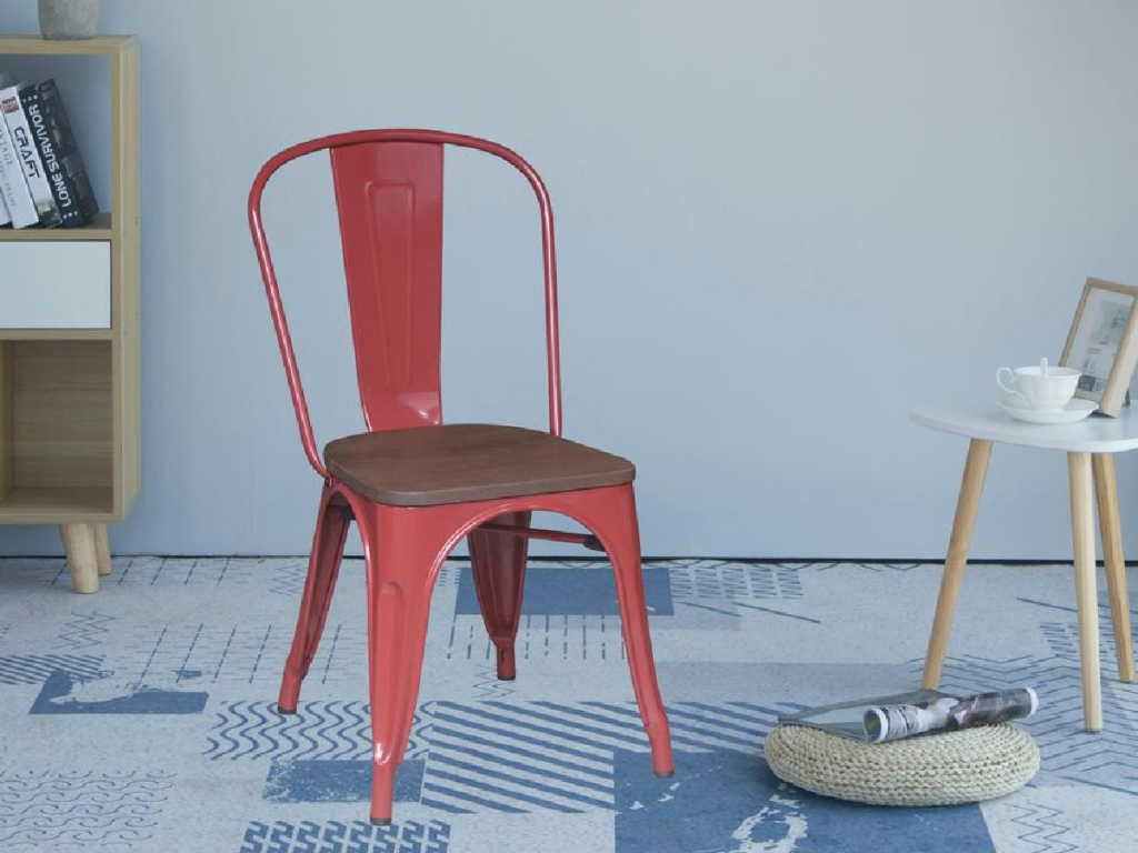 red and brown farmhouse style chair