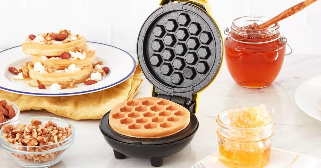 honeycomb themed mini waffle maker