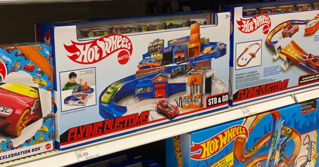 toy car track on shelf