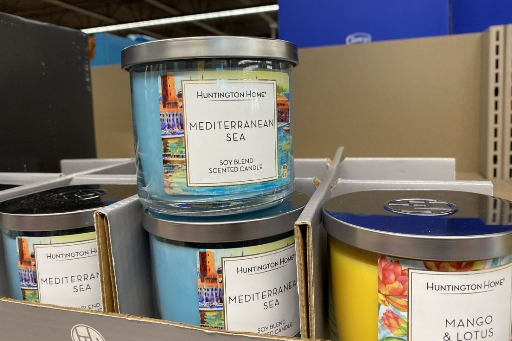 Huntington Home 3-Wick Candles on display in store