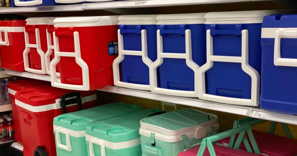 red and blue cooler on shelf