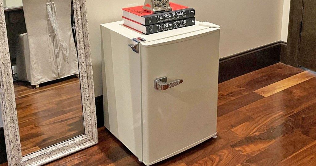 mini fridge on floor next to floor mirror
