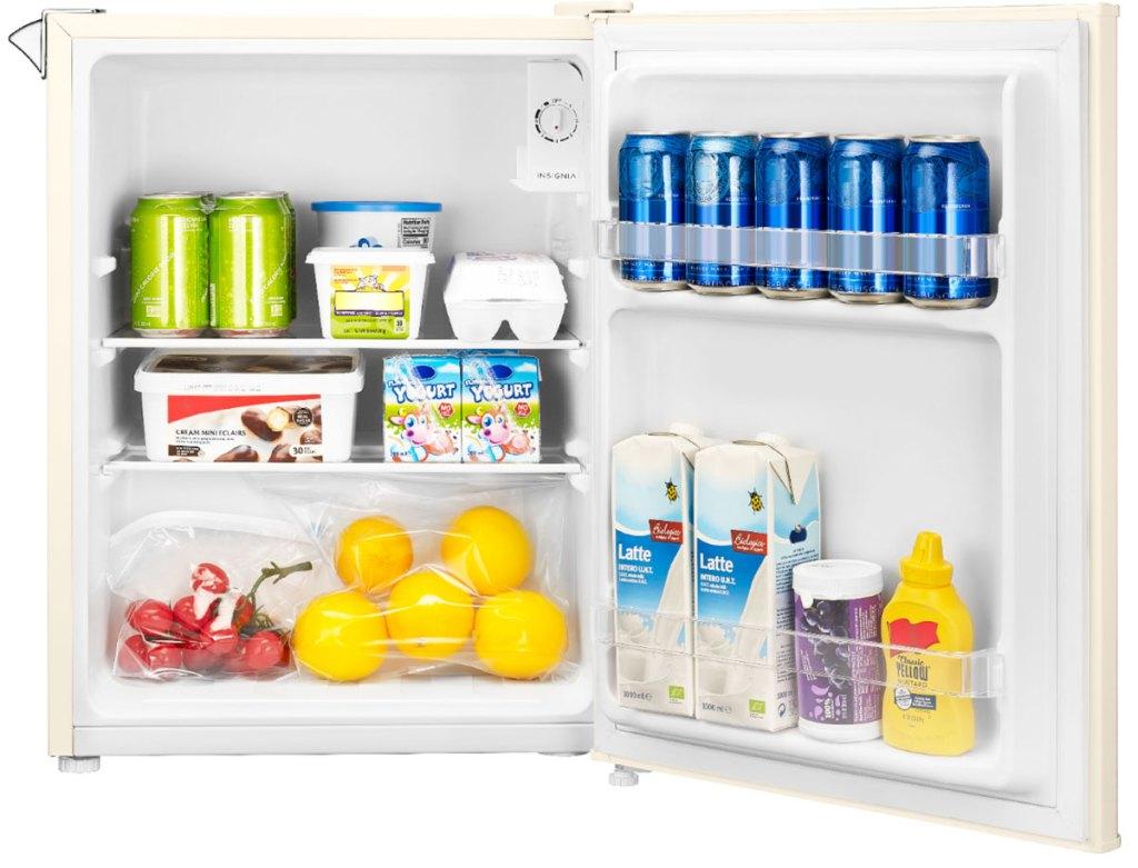 inside view of mini fridge