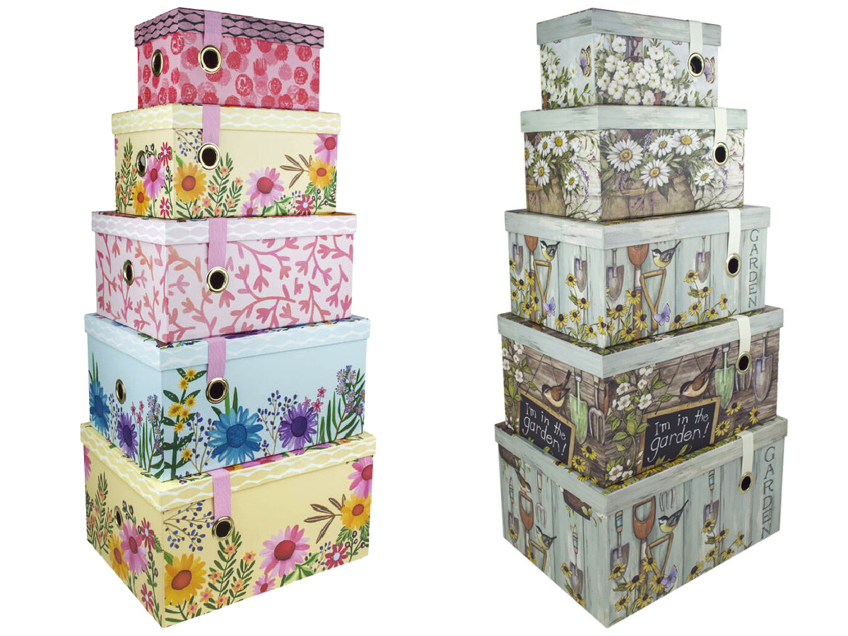 stock images of stacks of decorative boxes