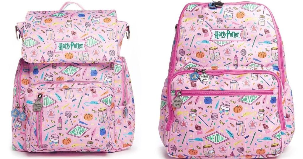 two pink backpacks