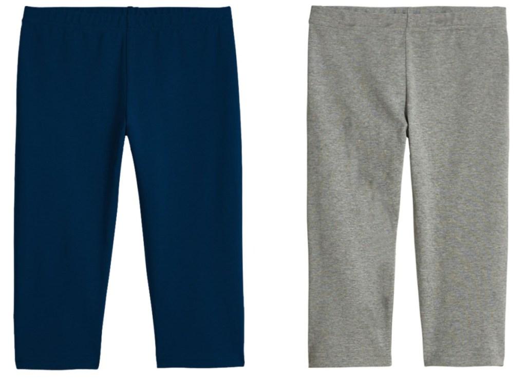 two colors of kids capri leggings