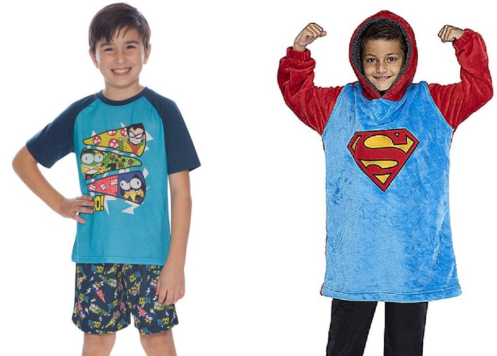 two boys wearing PJs