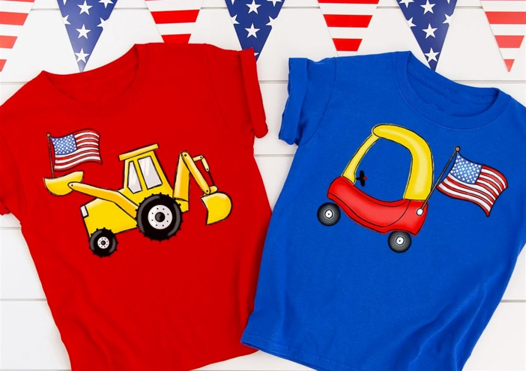 red and blue kids graphic patriotic tees