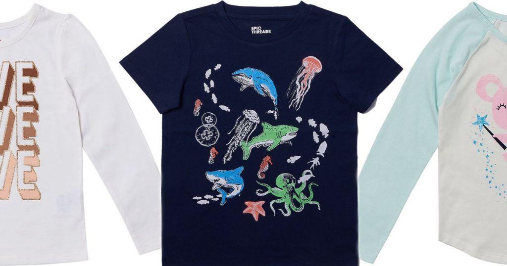 three kids shirts