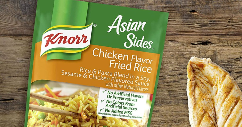 package of knorr rice side next to chicken breast