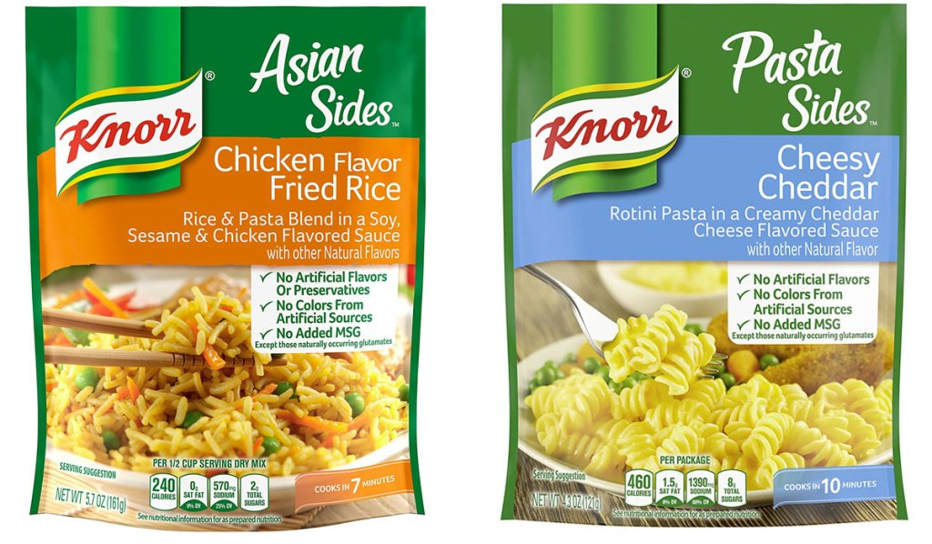 two packs of knorr rice and pasta sides