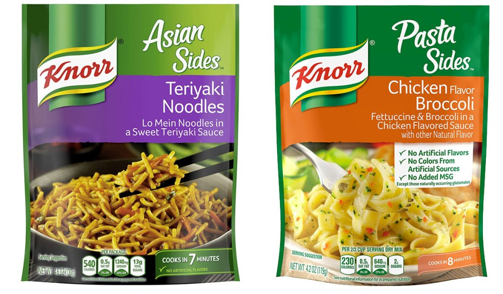two packets of knorr pasta sides