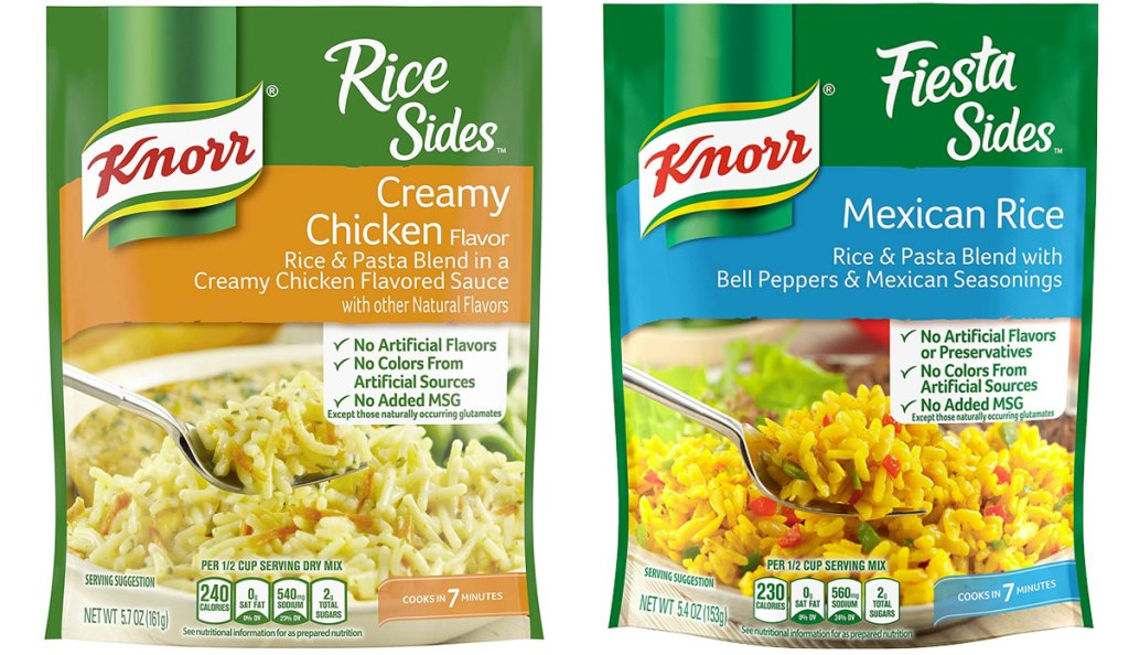 two packets of knorr rice sides