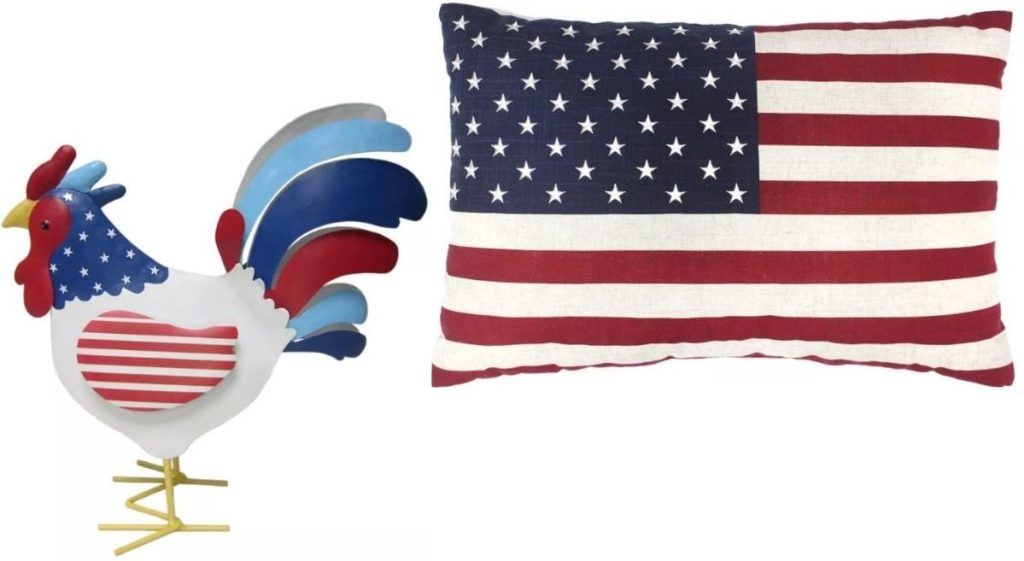 Kohl's Americana Rooster and Flag Pillow