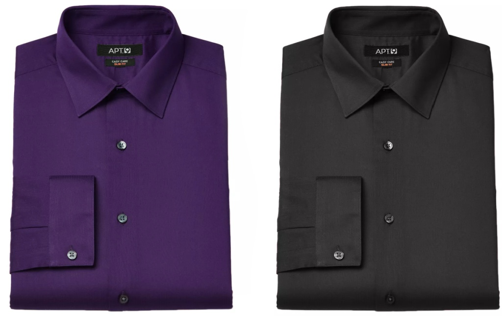 two men's dress shirts folded