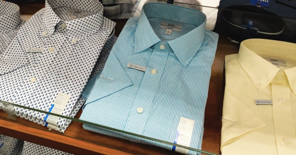 variety of plain men's dress shirts