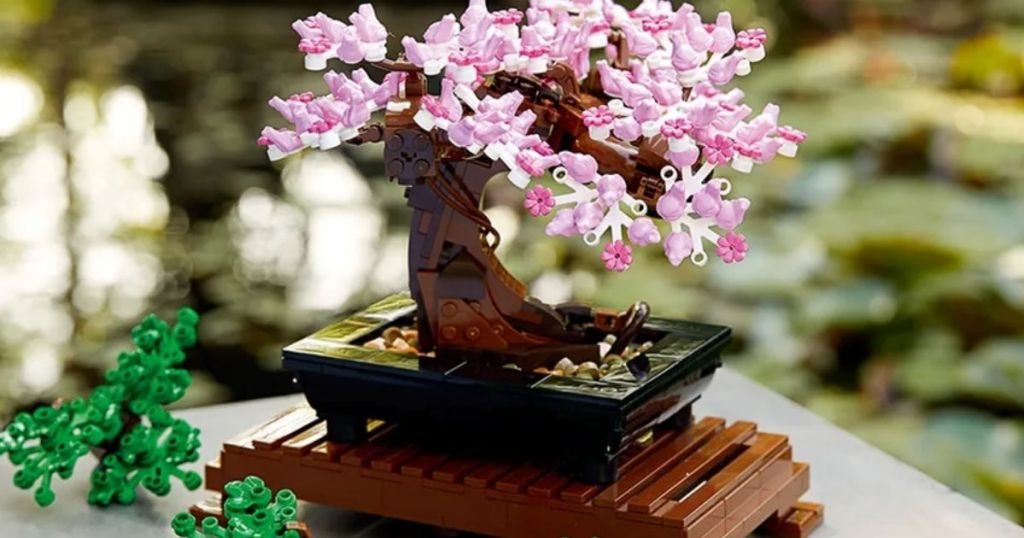completed LEGO Bonsai Tree with pink flowers