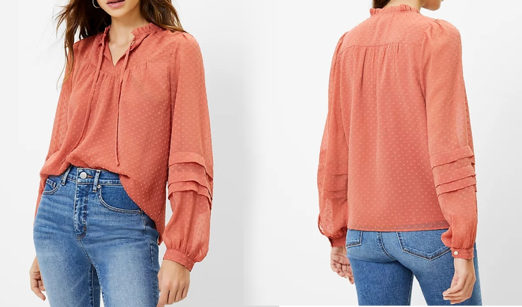 front and back view of woman wearing shirt