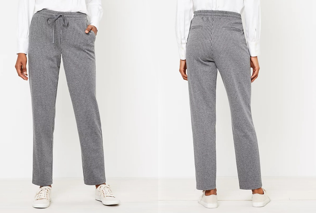 front and back view of a woman wearing gray pants