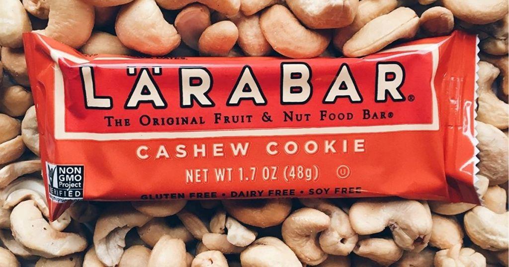 Larabar on a bunch of cashews