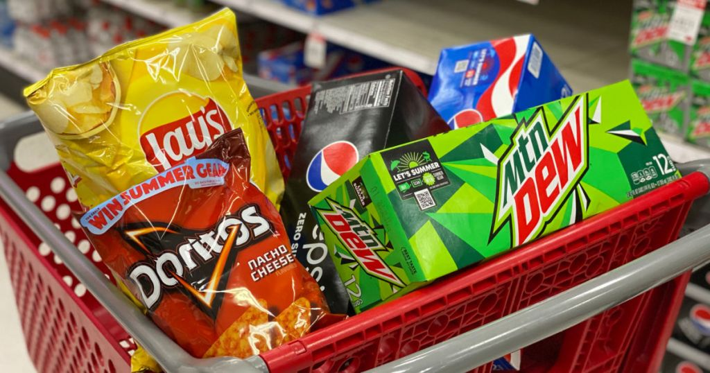 chips and soda in red cart