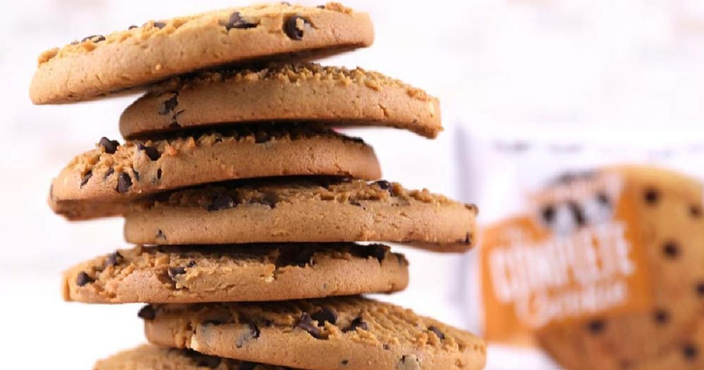 Lenny and Larry's cookies in a stack