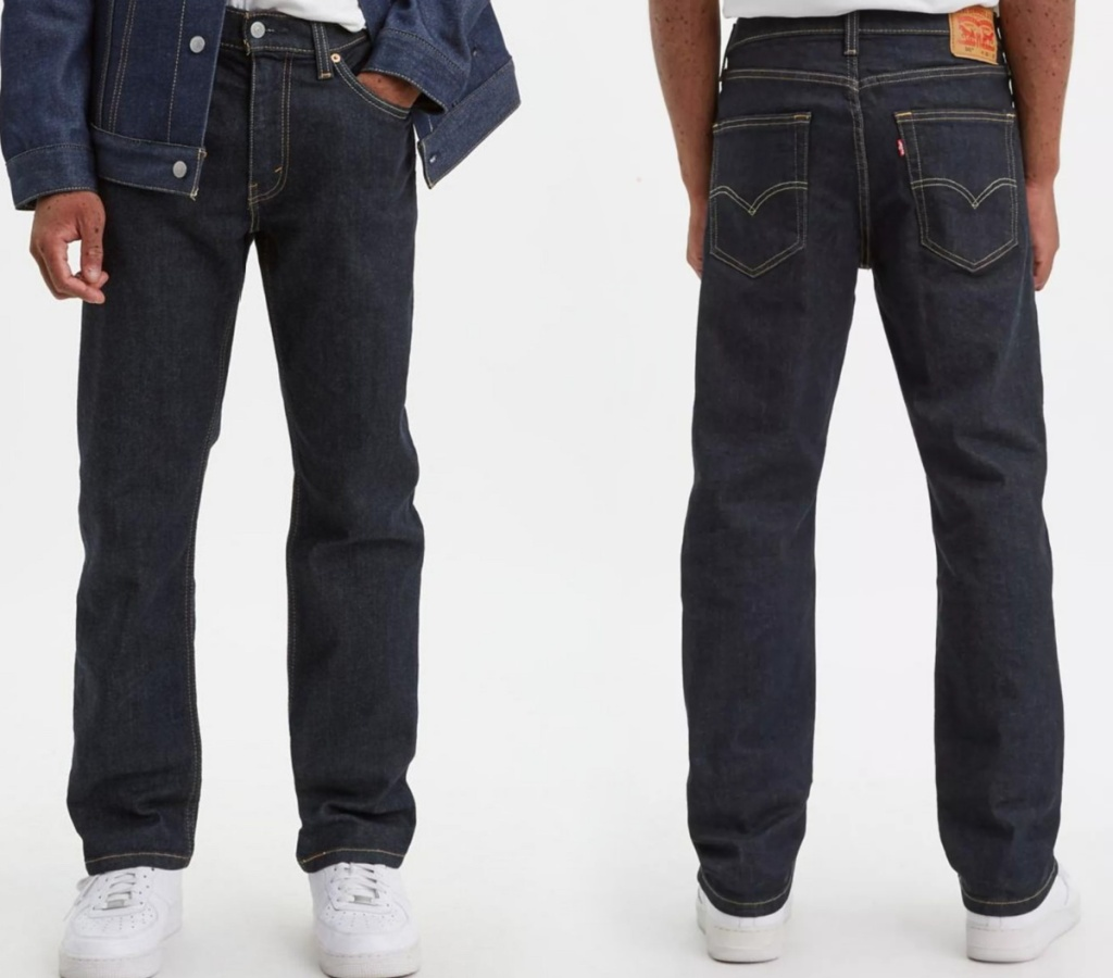 front and back view of a man wearing jeans