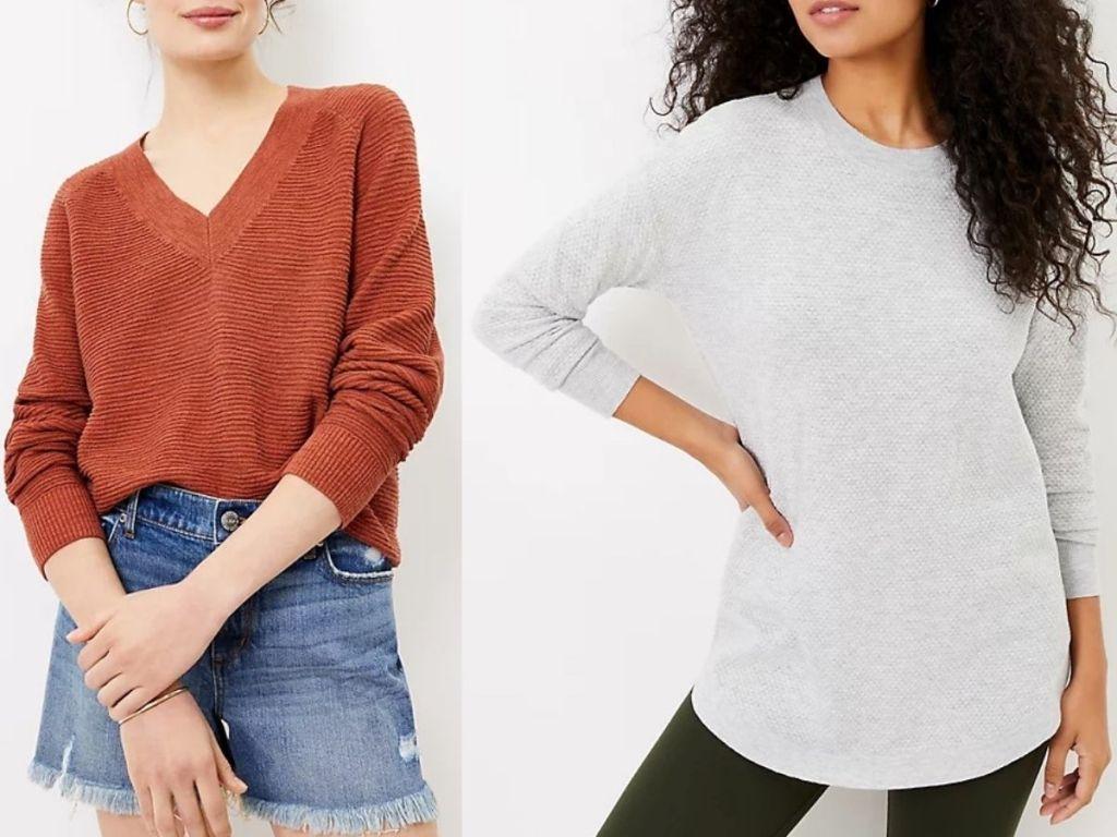 two women wearing loft sweaters