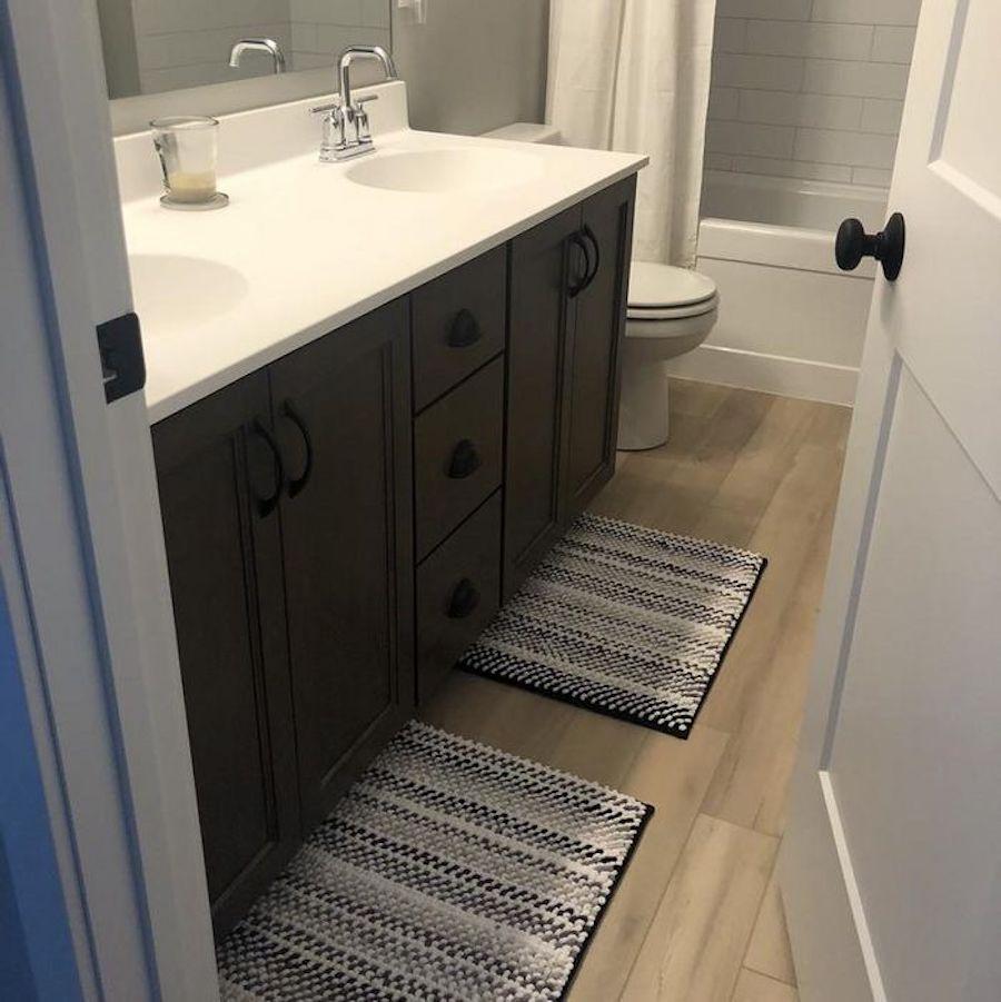 Loom Rug in bathroom