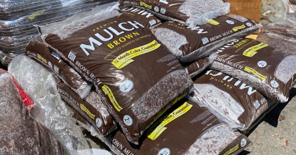 Large bags of Mulch on display outside of store