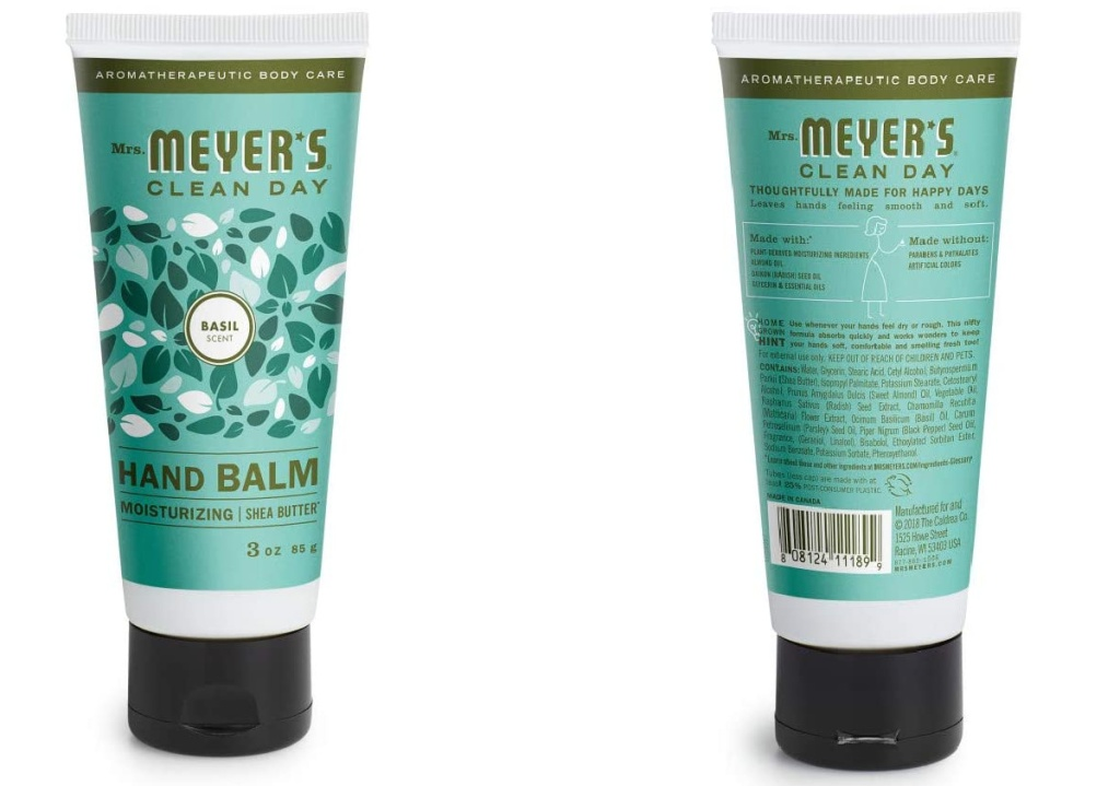 two tubes of hand cream, front and back view