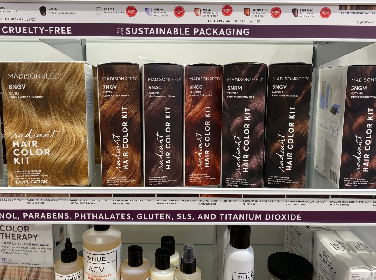 large in-store display of hair coloring kits