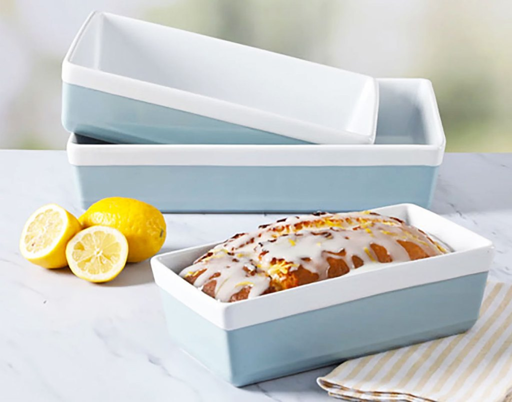 blue and white 3-piece bakeware set on kitchen counter