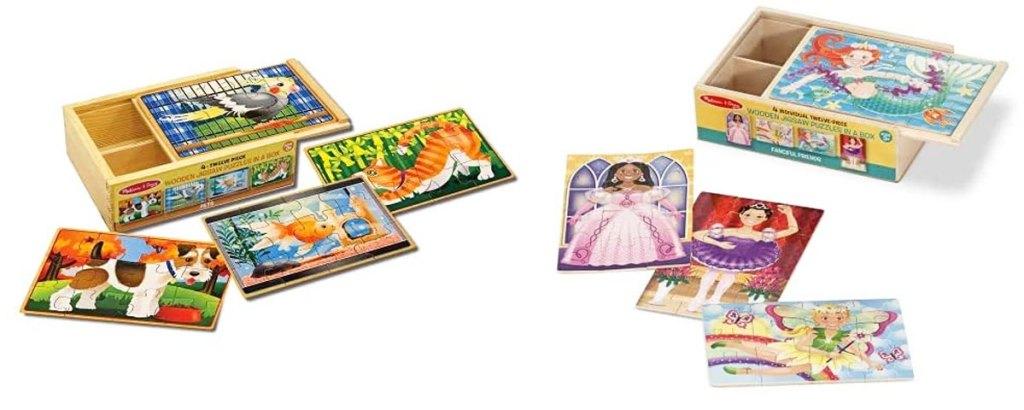 two melissa & doug wooden puzzle sets