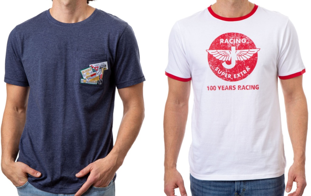 two men wearing retro graphic tees